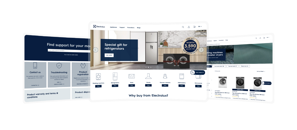 Designing & building an eCommerce website in four months for Electrolux